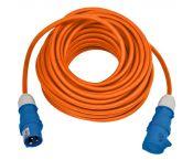 Camping stroom kabel CEE 3-pins (m) - CEE 3-pins (v) - 3x 2,50mm / oranje - 25 meter