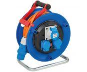 Brennenstuhl Garant CEE 3-pins IP44 camping/maritieme kabelhaspel met 3 contacten / blauw/oranje - 25 meter