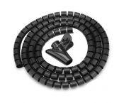 Cable eater kabelslang met rijgtool - 28 mm / 1,5m / zwart