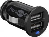 Goobay USB autolader met 2 poorten - 2,1A / zwart