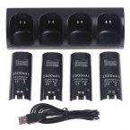 Premium oplaadstation met accu's voor 4 Nintendo Wii Remote controllers met/zonder MotionPlus / zwart