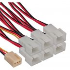 3-pins Case Fan (v) - 6x 3-pins Case Fan (m) splitter - 0,15 meter