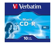 Verbatim Music CD-R discs in Jewel Case voor CD-recorders - 16-speed - 80 minuten / 10 stuks