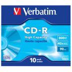 Verbatim CD-R High Capacity discs in Jewel Case - 40-speed - 800 MB / 90 minuten / 10 stuks