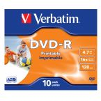 Verbatim DVD-R Wide Inkjet Printable discs in Jewel Case - 16-speed - 4,7 GB / 10 stuks