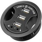 Goobay USB inbouw hub met 3 poorten en audio - USB2.0 - busgevoed / zwart - 1,5 meter