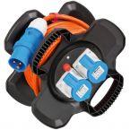 Brennenstuhl X-Gum CEE 3-pins IP44 camping/maritieme rubberen kabelhaspel met 5 contacten / zwart/oranje - 10 meter