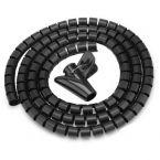 Cable eater kabelslang met rijgtool - 16 mm / 1,5m / zwart