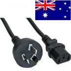 Apparaatsnoer met rechte C13 plug en rechte type I stekker (Australië) - 3x 0,75mm / zwart - 1 meter