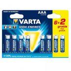Varta AAA High Energy batterijen - actie 6+2 gratis
