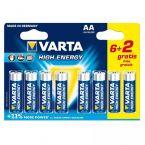 Varta AA High Energy batterijen - actie 6+2 gratis