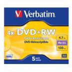 Verbatim DVD+RW discs in Jewel Case - 4-speed - 4,7 GB / 5 stuks