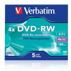 Verbatim DVD-RW discs in Jewel Case - 4-speed - 4,7 GB / 5 stuks