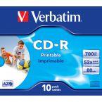 Verbatim CD-R AZO Wide Inkjet Printable discs in Jewel Case - 52-speed - 700 MB / 80 minuten / 10 stuks