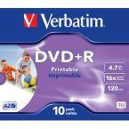 Verbatim DVD+R Wide Inkjet Printable discs in Jewel Case - 16-speed - 4,7 GB / 10 stuks