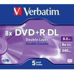 Verbatim DVD+R Double Layer discs in Jewel Case - 8-speed - 8,5 GB / 5 stuks