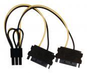 PCIe 6-pins (m) - 2x SATA 15-pins (m) voedingsadapter - 0,15 meter